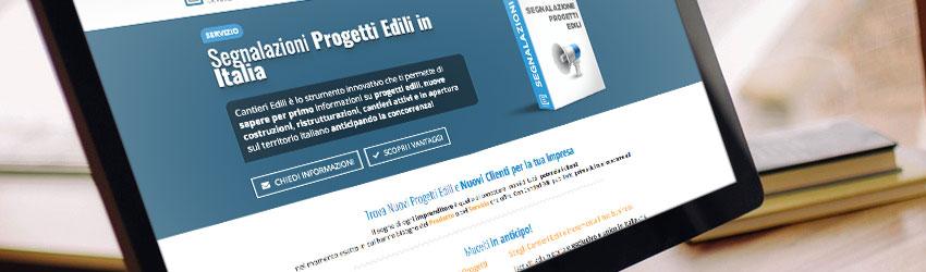 Schermata principale del servizio di segnalazione progetti edili della piattaforma CantieriEdili.net