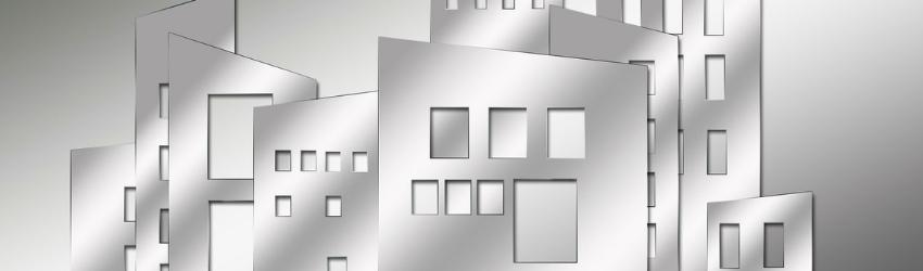 profilo di palazzi stilizzati argentati su sfondo argentato