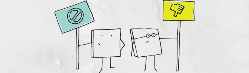 Clienti migliori: disegno di due tessere umanizzate che sorreggono due cartelli che rappresentano negatività