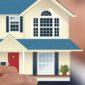 promuovere impresa edile: uomo sfocato sullo sfondo che con il braccio teso mostra un modellino di una casa