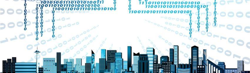 Banche Dati Edilizia: illustrazione di una nuvola da cui sgorgano codici binari che si collegano alla città sottostante